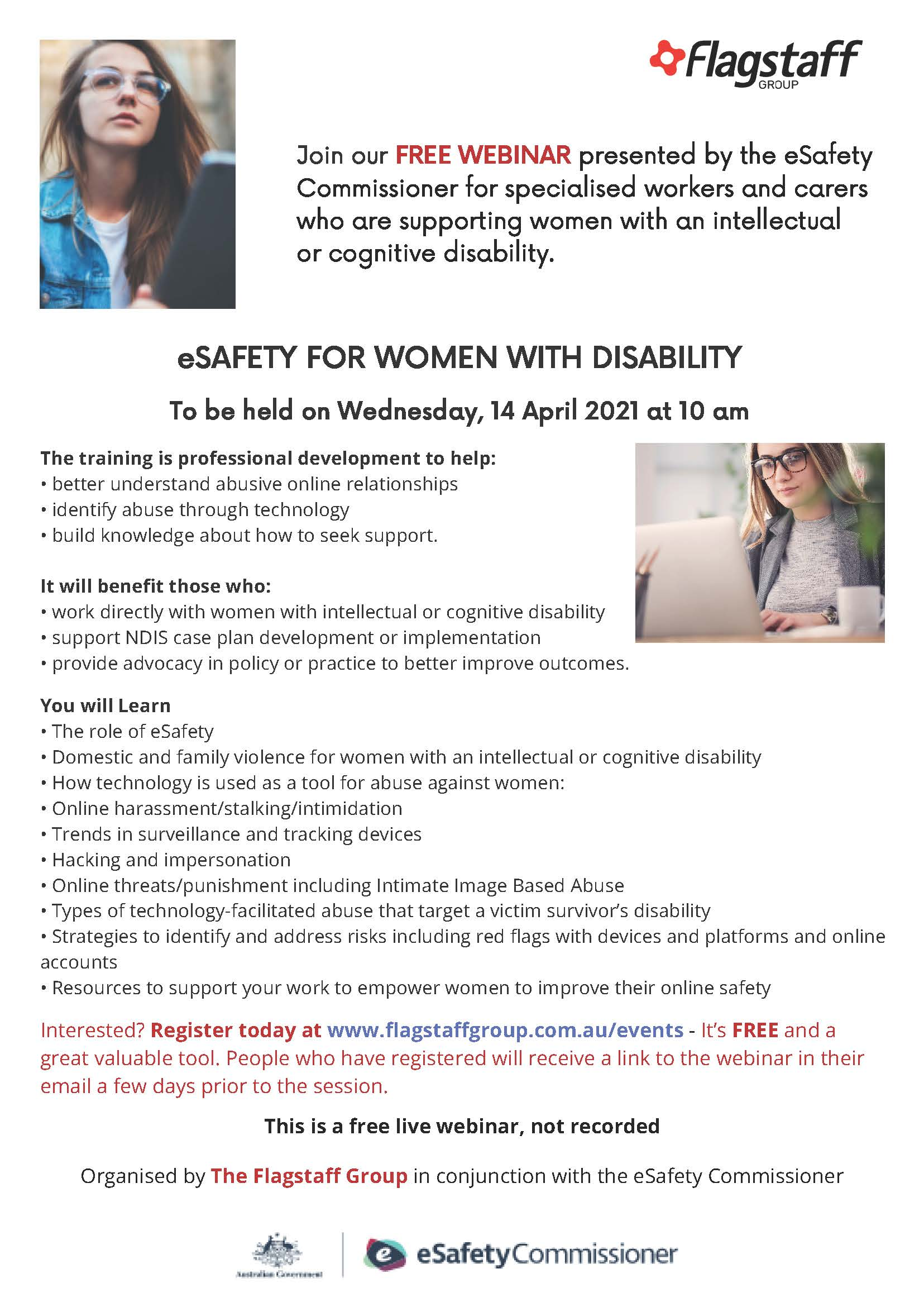 Webinar for workers supporting women with an intellectual or cognitive disability
